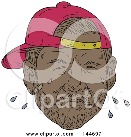 Clipart of a Sketched Drawing Styled Black Male Rapper Wearing a Backwards Hat and Crying - Royalty Free Vector Illustration by patrimonio