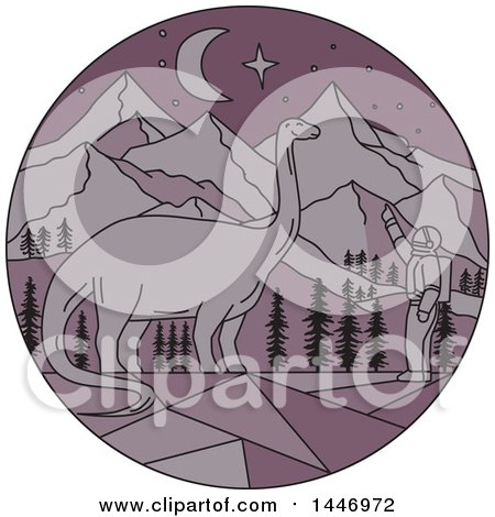Clipart of a Sketched Mono Line Styled Astronaut Pointing to a Brontosaurus Dinosaur in a Circle with Mountains - Royalty Free Vector Illustration by patrimonio