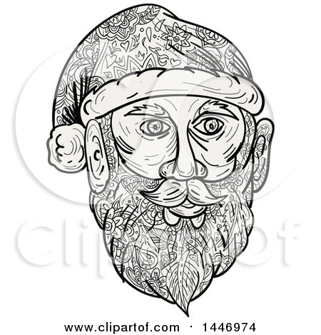 Clipart of a Sketched Mandala Styled Santa Claus Face - Royalty Free Vector Illustration by patrimonio