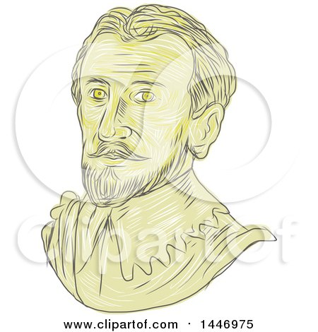 Clipart of a Sketched Drawing Styled Bust of a Bust of a 15th Century Spanish Conquistador - Royalty Free Vector Illustration by patrimonio