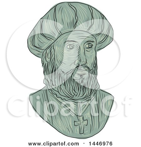 Clipart of a Sketched Drawing Styled Bust of Vasco Da Gama, 1st Count of Vidigueira, Portuguese Explorer and the First European to Reach India by Sea - Royalty Free Vector Illustration by patrimonio