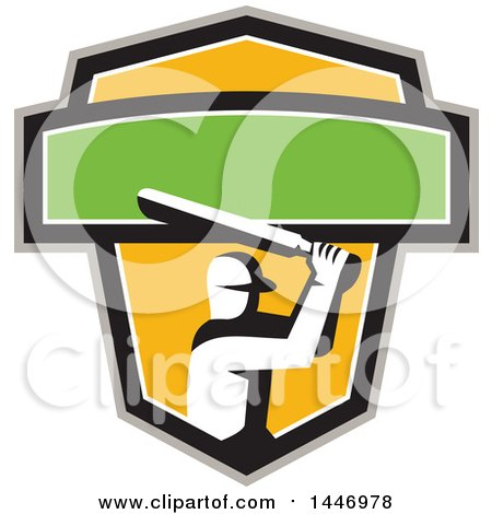 Clipart of a Retro Cricket Player Batsman in a Green, White, Black Gray and Yellow Crest - Royalty Free Vector Illustration by patrimonio