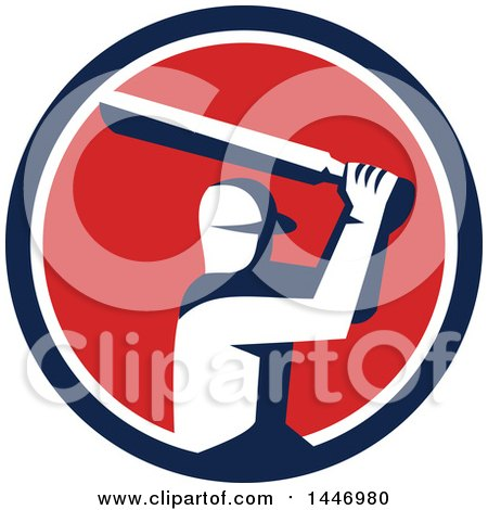 Clipart of a Retro Cricket Player Batsman in a Blue White and Red Circle - Royalty Free Vector Illustration by patrimonio