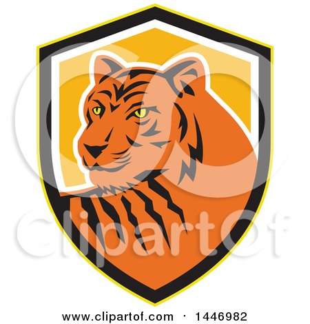 Clipart of a Retro Tiger Mascot in a Yellow, Black White and Orange Shield - Royalty Free Vector Illustration by patrimonio