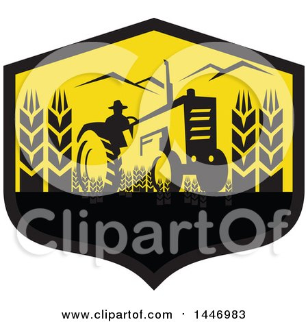 Clipart of a Retro Silhouetted Wheat Farmer Operating a Tractor in a Black and Yellow Crest - Royalty Free Vector Illustration by patrimonio