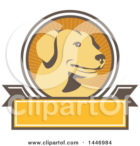 Clipart of a Retro Yellow Labrador Dog in a Ray Circle over a Blank Banner - Royalty Free Vector Illustration by patrimonio