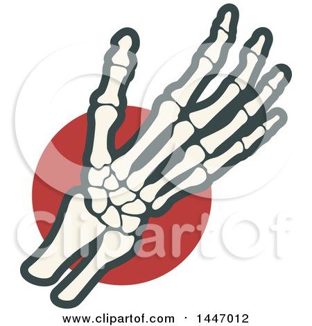Clipart of a Human Wrist and Hand over a Red Circle - Royalty Free Vector Illustration by Vector Tradition SM