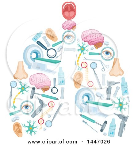 Clipart of a Pair of Human Lungs Formed of Medical Icons - Royalty Free Vector Illustration by Vector Tradition SM