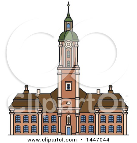Clipart of a Line Drawing Styled German Landmark, Abbey Church Birnau - Royalty Free Vector Illustration by Vector Tradition SM