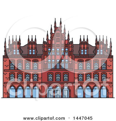 Clipart of a Line Drawing Styled German Landmark, Old Town Hall - Royalty Free Vector Illustration by Vector Tradition SM