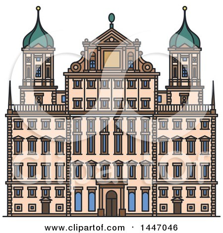 Clipart of a Line Drawing Styled German Landmark, Augsburg Town Hall - Royalty Free Vector Illustration by Vector Tradition SM