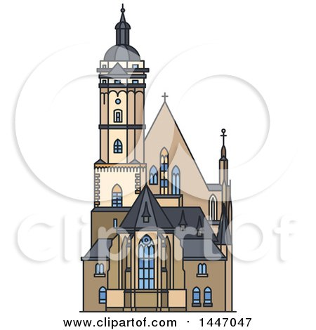 Clipart of a Line Drawing Styled German Landmark, Church Thomaskirche - Royalty Free Vector Illustration by Vector Tradition SM