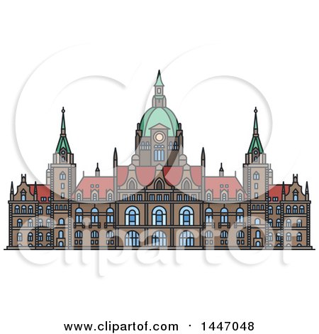 Clipart of a Line Drawing Styled German Landmark, New City Hall - Royalty Free Vector Illustration by Vector Tradition SM