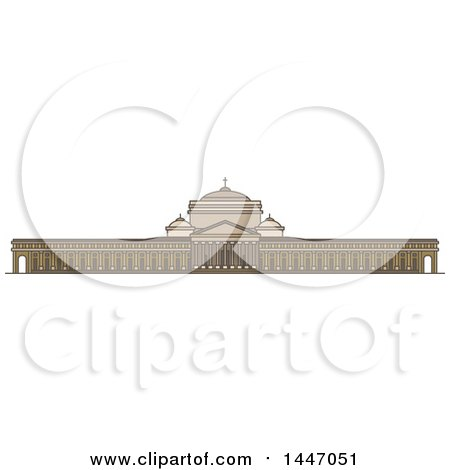 Clipart of a Line Drawing Styled Italian Landmark, Linear Basilica of San Francesco Di Paola - Royalty Free Vector Illustration by Vector Tradition SM