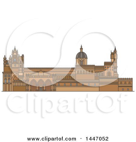 Clipart of a Line Drawing Styled Italian Landmark, Palermo Cathedral - Royalty Free Vector Illustration by Vector Tradition SM