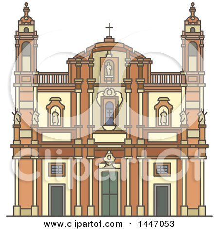 Clipart of a Line Drawing Styled Italian Landmark, Church of San Domenico - Royalty Free Vector Illustration by Vector Tradition SM