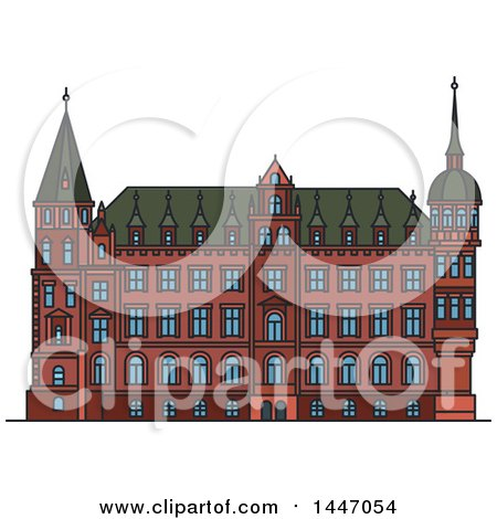 Clipart of a Line Drawing Styled German Landmark, Town Hall - Royalty Free Vector Illustration by Vector Tradition SM