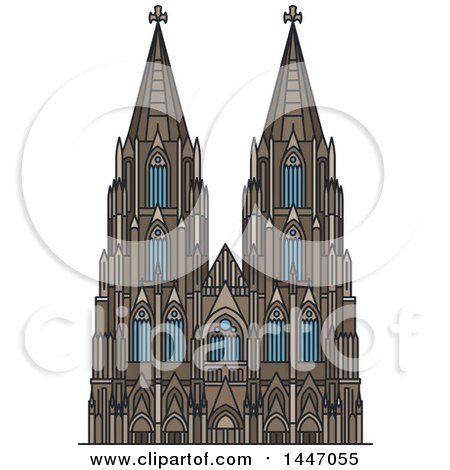 Clipart of a Line Drawing Styled German Landmark, Cologne Cathedral - Royalty Free Vector Illustration by Vector Tradition SM