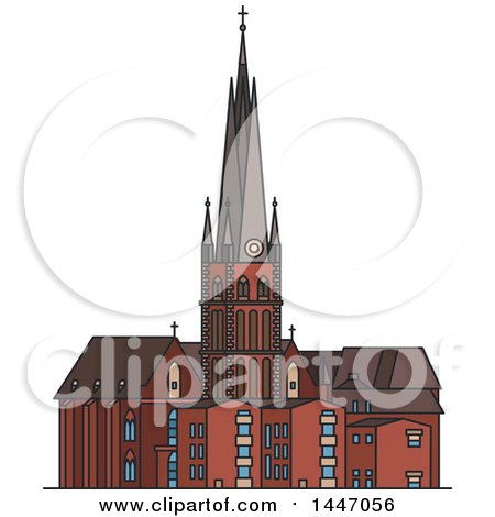 Clipart of a Line Drawing Styled German Landmark, St Lambert Church - Royalty Free Vector Illustration by Vector Tradition SM