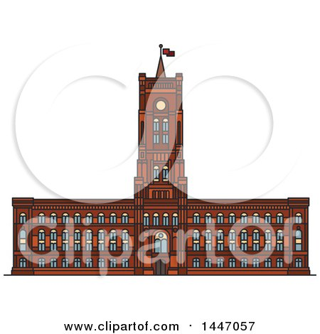 Clipart of a Line Drawing Styled German Landmark, Rotes Rathaus Cathedral - Royalty Free Vector Illustration by Vector Tradition SM
