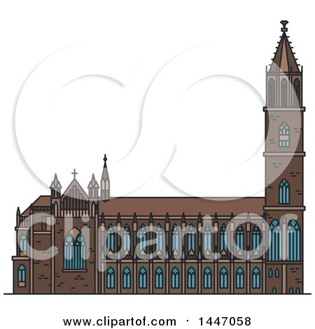 Clipart of a Line Drawing Styled German Landmark, Magdeburg Cathedral - Royalty Free Vector Illustration by Vector Tradition SM