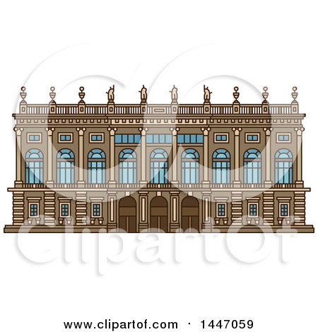 Clipart of a Line Drawing Styled Italian Landmark, Palazzo Madama - Royalty Free Vector Illustration by Vector Tradition SM