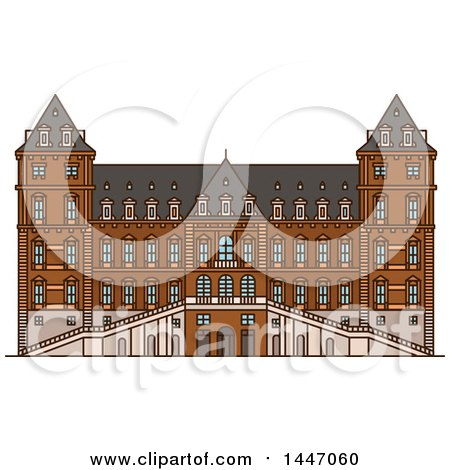 Clipart of a Line Drawing Styled Italian Landmark, Castle of Valentino - Royalty Free Vector Illustration by Vector Tradition SM