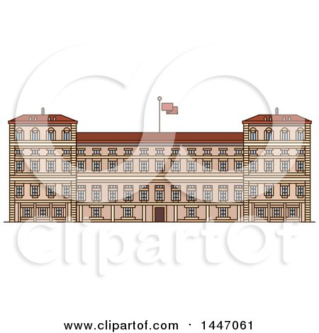 Clipart of a Line Drawing Styled Italian Landmark, Royal Palace of Milan - Royalty Free Vector Illustration by Vector Tradition SM