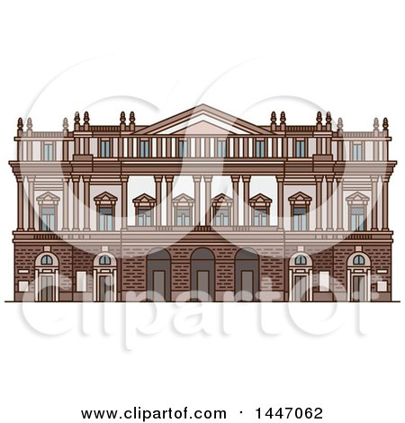 Clipart of a Line Drawing Styled Italian Landmark, Opera House La Scala - Royalty Free Vector Illustration by Vector Tradition SM