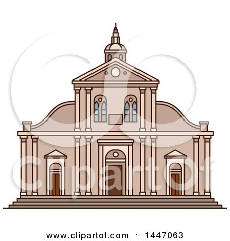 Clipart of a Line Drawing Styled Italian Landmark, Roman Catholic Turin Cathedral - Royalty Free Vector Illustration by Vector Tradition SM