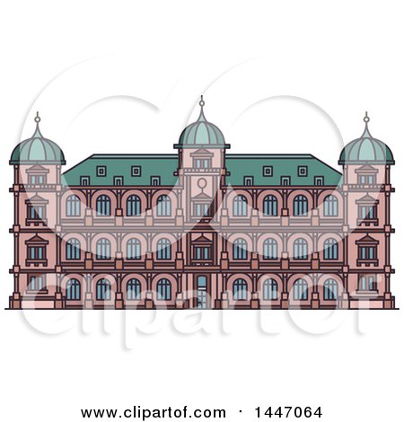 Clipart of a Line Drawing Styled German Landmark, Castle Gottesaue - Royalty Free Vector Illustration by Vector Tradition SM