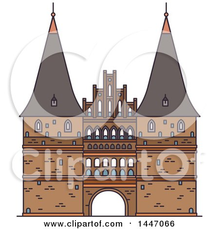 Clipart of a Line Drawing Styled German Landmark, Holsten Gate - Royalty Free Vector Illustration by Vector Tradition SM