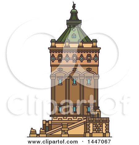 Clipart of a Line Drawing Styled German Landmark, Wasserturm - Royalty Free Vector Illustration by Vector Tradition SM