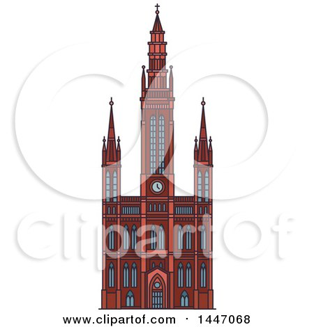 Clipart of a Line Drawing Styled German Landmark, Marktkirche - Royalty Free Vector Illustration by Vector Tradition SM