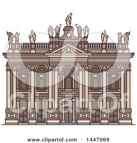 Clipart of a Line Drawing Styled Italian Landmark, Archbasilica of St John Lateran - Royalty Free Vector Illustration by Vector Tradition SM