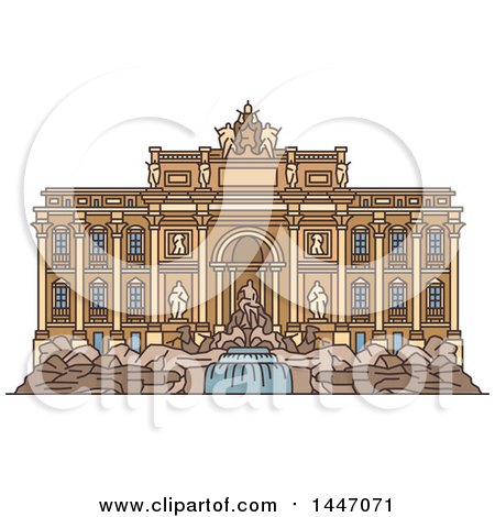 Clipart of a Line Drawing Styled Italian Landmark, Trevi Fountain - Royalty Free Vector Illustration by Vector Tradition SM