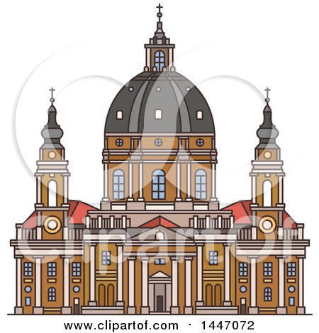Clipart of a Line Drawing Styled Italian Landmark, Church Gran Madre Di Dio - Royalty Free Vector Illustration by Vector Tradition SM