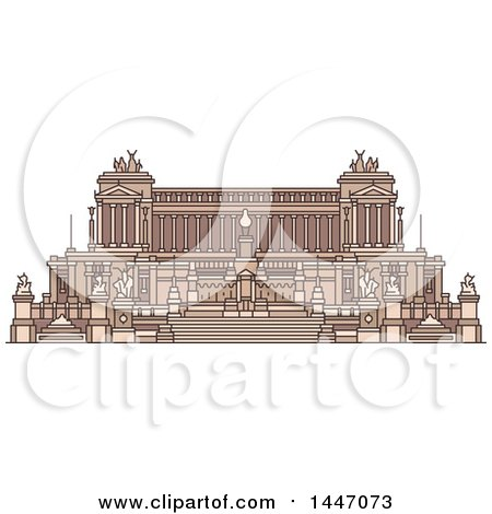 Clipart of a Line Drawing Styled Italian Landmark, Monument Altare Della Patria - Royalty Free Vector Illustration by Vector Tradition SM