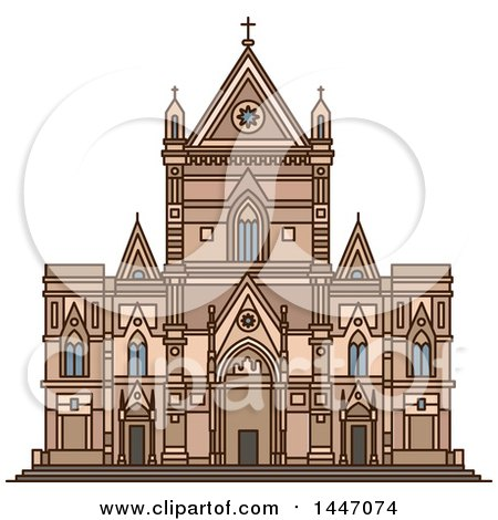 Clipart of a Line Drawing Styled Italian Landmark, Naples Cathedral - Royalty Free Vector Illustration by Vector Tradition SM