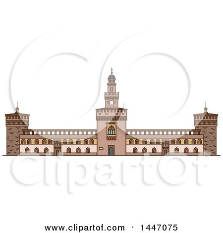 Clipart of a Line Drawing Styled Italian Landmark, Sforza Castle - Royalty Free Vector Illustration by Vector Tradition SM