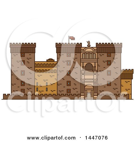 Clipart of a Line Drawing Styled Italian Landmark, Castel Nuovo - Royalty Free Vector Illustration by Vector Tradition SM