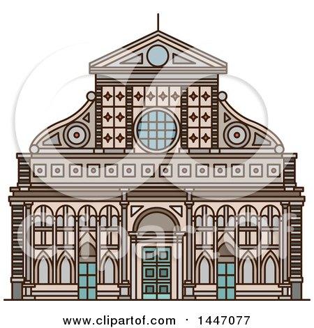 Clipart of a Line Drawing Styled Italian Landmark, Church Santa Maria Novella - Royalty Free Vector Illustration by Vector Tradition SM