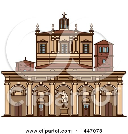 Clipart of a Line Drawing Styled Italian Landmark, Basilica of San Lorenzo - Royalty Free Vector Illustration by Vector Tradition SM