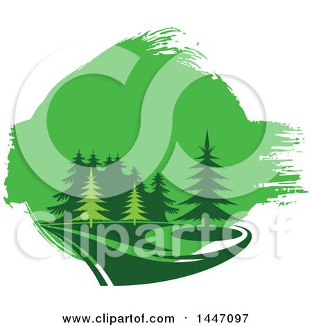 Clipart of a Park of Evergreen Trees and Green Paint - Royalty Free Vector Illustration by Vector Tradition SM