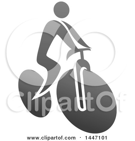 Clipart of a Grayscale Bicycle Cyclist Icon - Royalty Free Vector Illustration by Vector Tradition SM