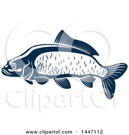 Clipart of a Navy Blue and White Carp Fish - Royalty Free Vector Illustration by Vector Tradition SM