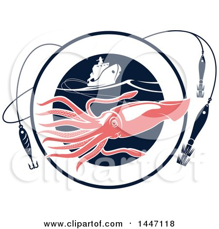 Clipart of a Pink Squid in a Navy Blue Circle with Hooks and a Boat - Royalty Free Vector Illustration by Vector Tradition SM