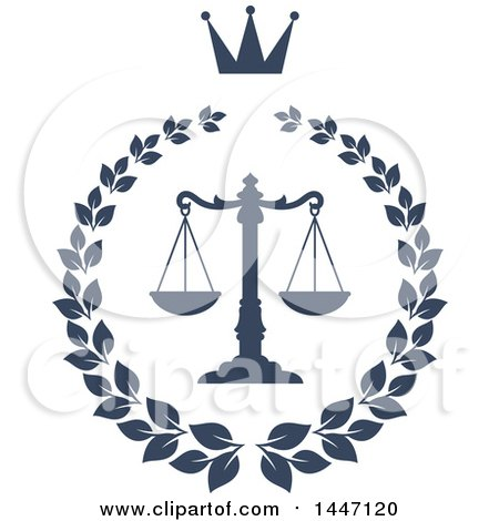 Clipart of a Navy Blue Laurel Wreath with a Crown and Legal Scales of Justice - Royalty Free Vector Illustration by Vector Tradition SM