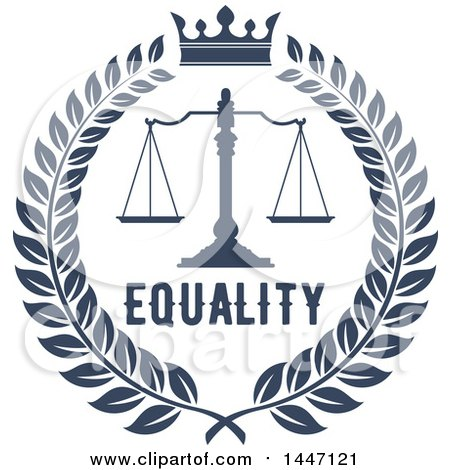 Clipart of a Navy Blue Laurel Wreath with Legal Scales of Justice with a Crown and Equality Text - Royalty Free Vector Illustration by Vector Tradition SM
