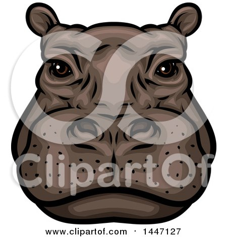 Clipart of a Hippopotamus Mascot Face - Royalty Free Vector Illustration by Vector Tradition SM